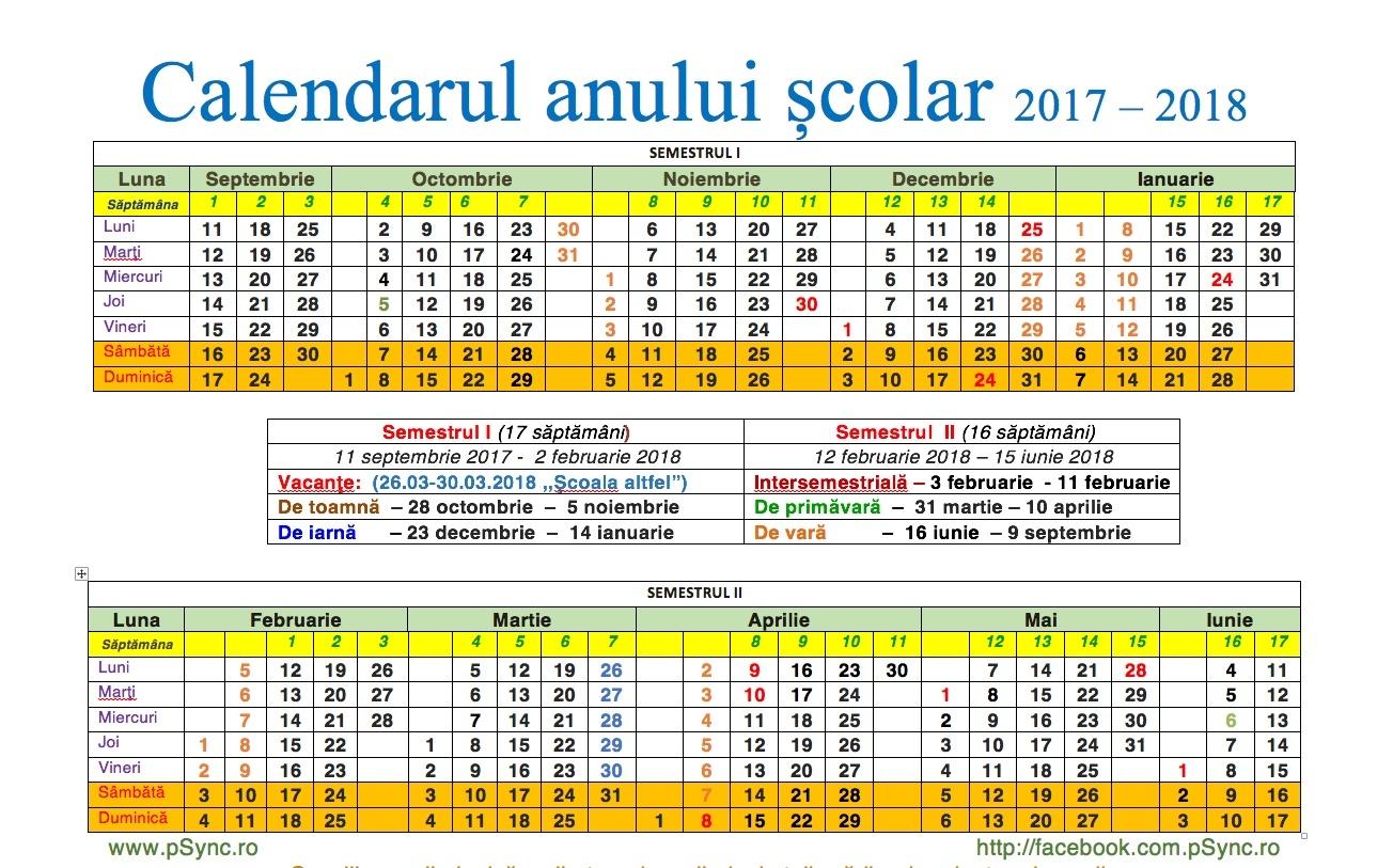 showing 2nd image of 2018 2019 Calendar Scolar Structura anului școlar: Orarul lecțiilor şi al vacanțelor ...